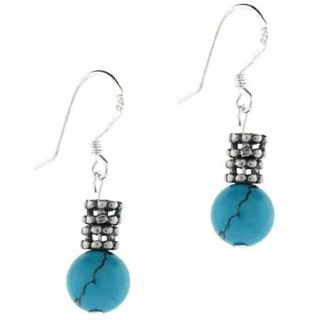 Sterling Silver Turquoise Stone & Bali Bead Dangle Earrings