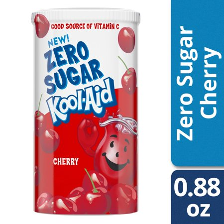 (2 Pack) Kool-Aid Jammers Zero Sugar Cherry Drink Mix, 0.88 oz Canister - Koolaid Guy