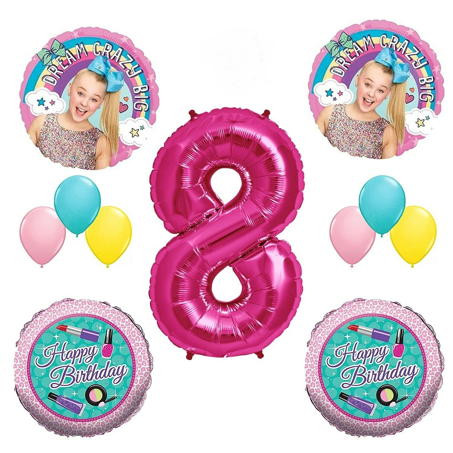 Jojo Siwa 8th Birthday Party Balloons Decorations Supplies Bow Eighth Makeup