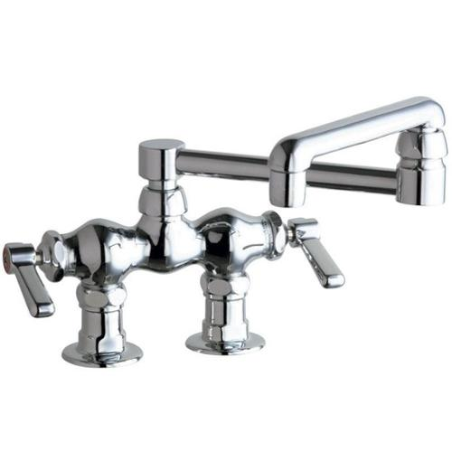 2-Handle Kitchen Faucet in Chrome with 13 in. Double-Jointed Swing Spout