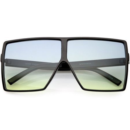 Big Large Oversize Square Sunglasses Flat Top Two Tone Lens 70mm (Matte Black / Blue (Large Square Sunglasses)