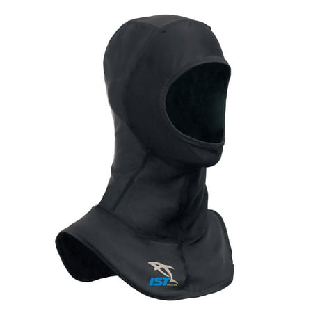 IST Lycra Spandex Diving Hood, Wetsuit Cap Head Cover with Bib & Anti Chafe Seams for Scuba Divers (Black, Medium)