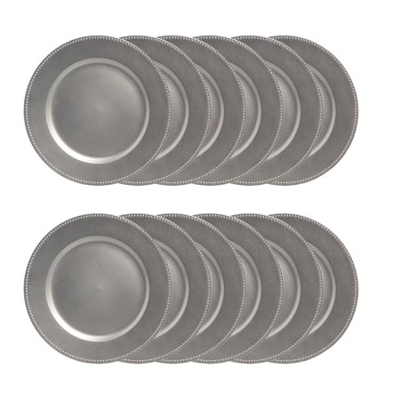 """Lincoln International (12 Pack 13"""" Round  Beaded Rim Silver Charger Plates Dining Table Kitchen Decor Dinner Party Supplies - Dinner Chargers"""