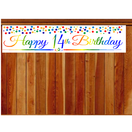 Item#014RPB Happy 14th Birthday Rainbow Wall Decoration Indoor / OutDoor Party Banner (10 x 50inches)](14th Birthday Party Ideas)