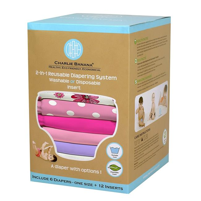Charlie Banana 888682 6 Diapers 12 Inserts for Girls - One Size