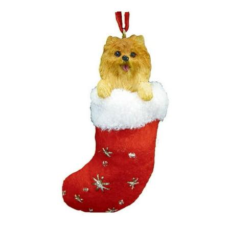 Pomeranian Christmas Stocking Ornament with