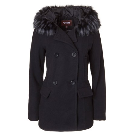 Sportoli Women's Winter Wool Look Double Breasted Pea Coat Jacket Fur Trim Hood - Black (Size Small)