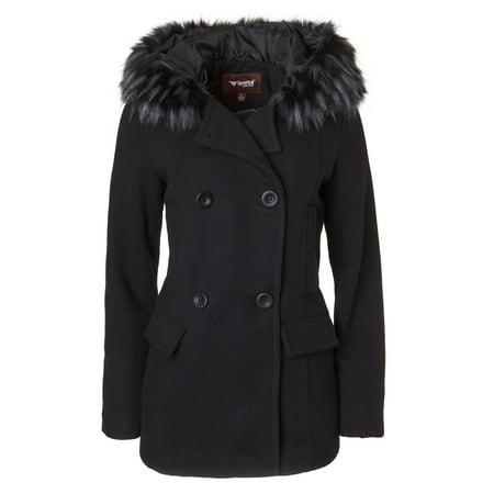 Sportoli Women's Winter Wool Look Double Breasted Pea Coat Jacket Fur Trim Hood - Black (Size