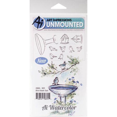 Art Impressions Watercolor Cling Rubber Stamps Bird Bath - Impression Obsession Halloween Stamps