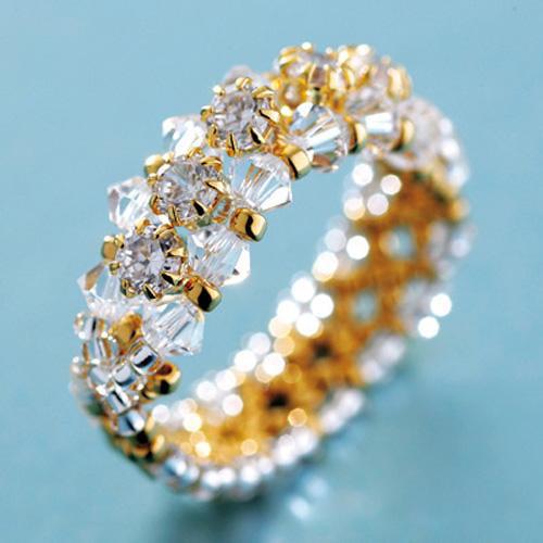 Create Your Own DIY Miyuki Glass Bead Ring Kit - Cubic Zirconia Line Gold