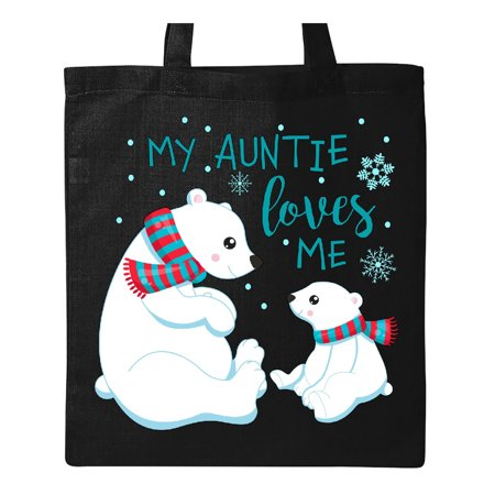 My Auntie Loves Me- cute polar bears Tote Bag Black One Size