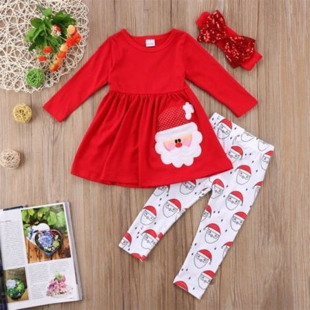 Christmas Toddler Kids Baby Girls Santa Dress Leggings Headband Outfits Clothes (Toddler Christmas Clothing)