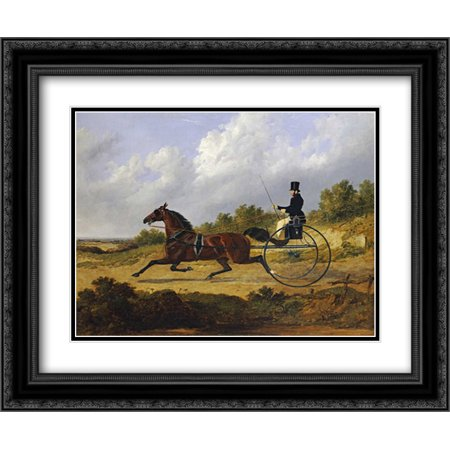 Confidence, Drawing a Gig Driven By a Groom 2x Matted 24x20 Black Ornate Framed Art Print by Herring, John Frederick