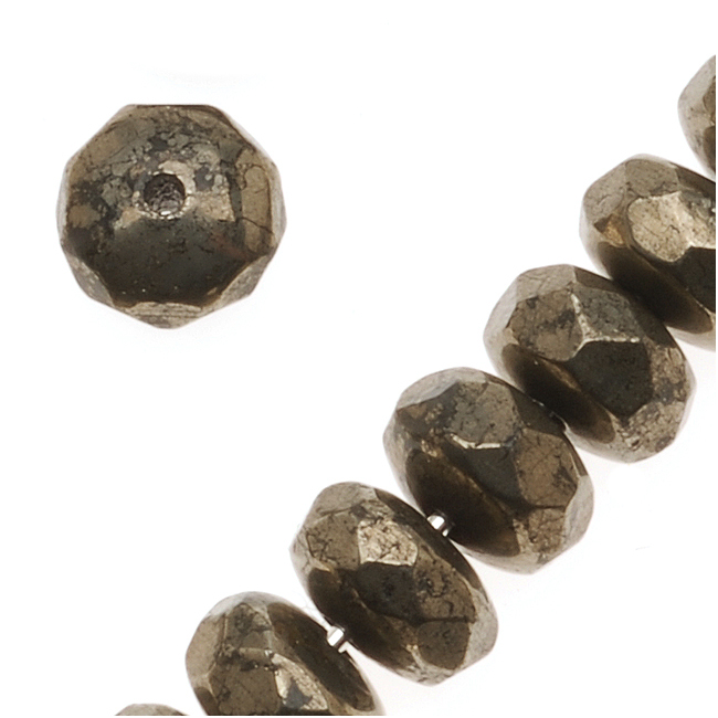 "Pyrite ""Fool'S Gold"" Faceted Rondelle Beads 4x6mm (20 Beads)"