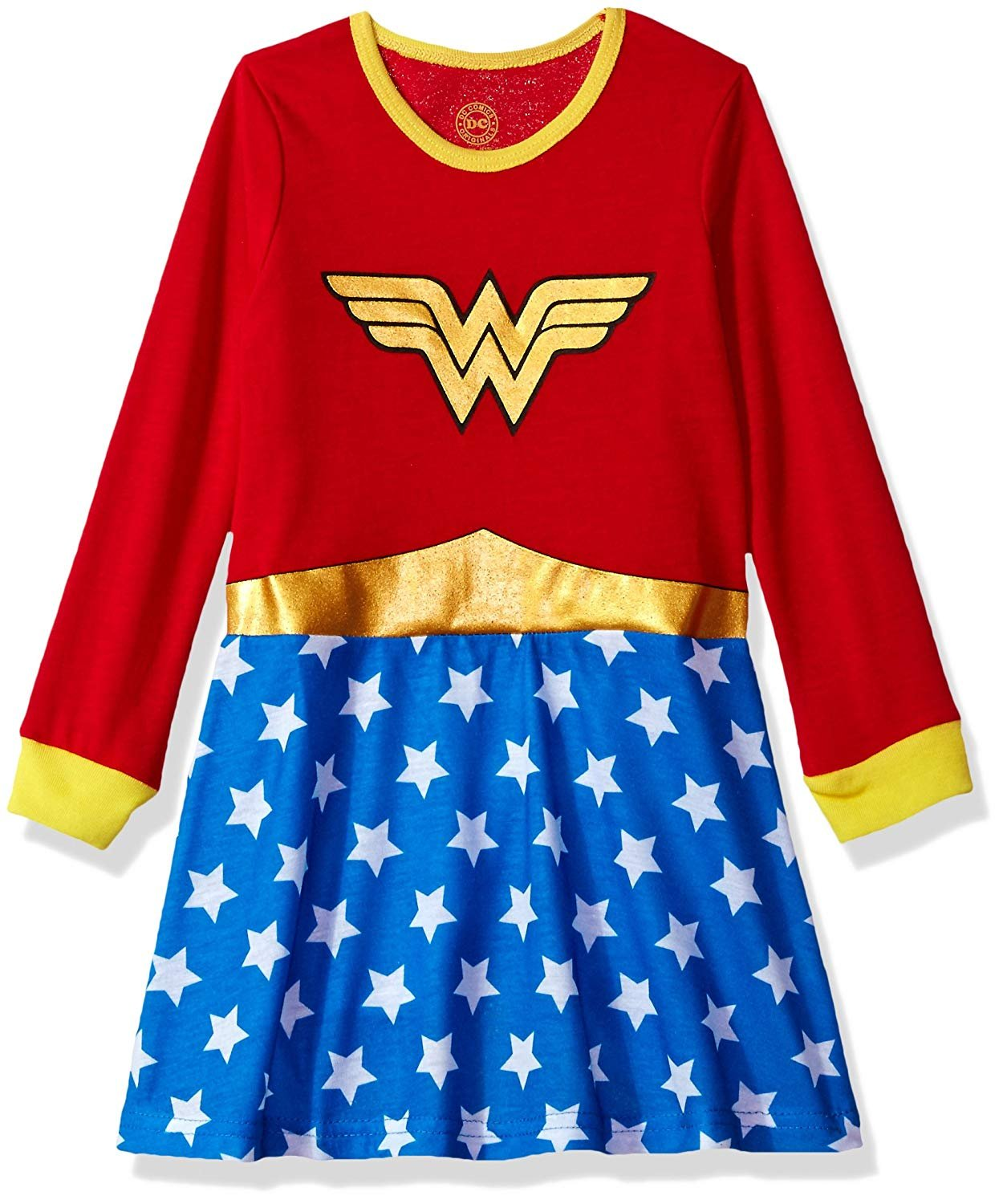 DC Comics Girls 'Wonder Woman Gold' Costume Pajama Gown, red, 4/5