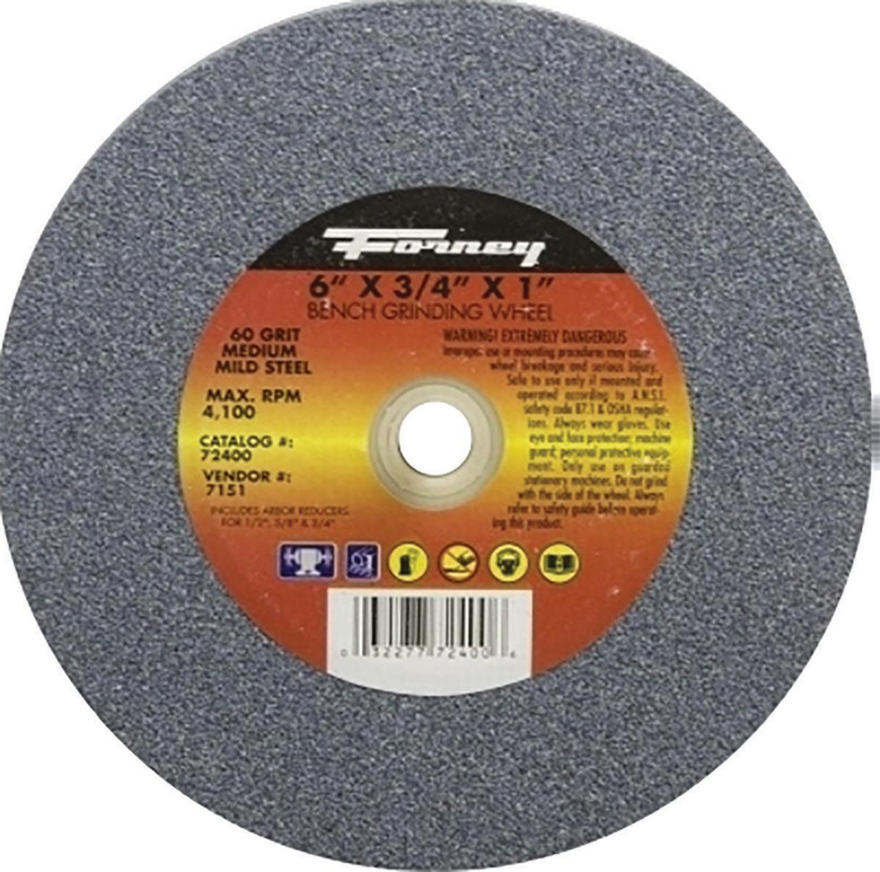 Forney Industries 72400 Type 1 Circular Shape Flat Grinding Wheel, 6 in Dia x 3/4 in T, 60 Grit, 1 i