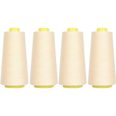 4 Cones Natural Color Serger Sewing Thread, 2750 Yd Cones, TEX 27 40S/2,