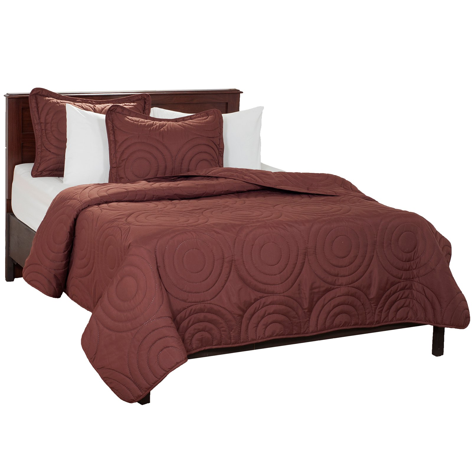 Solid Embossed 3-Piece Quilt Set by Lavish Home