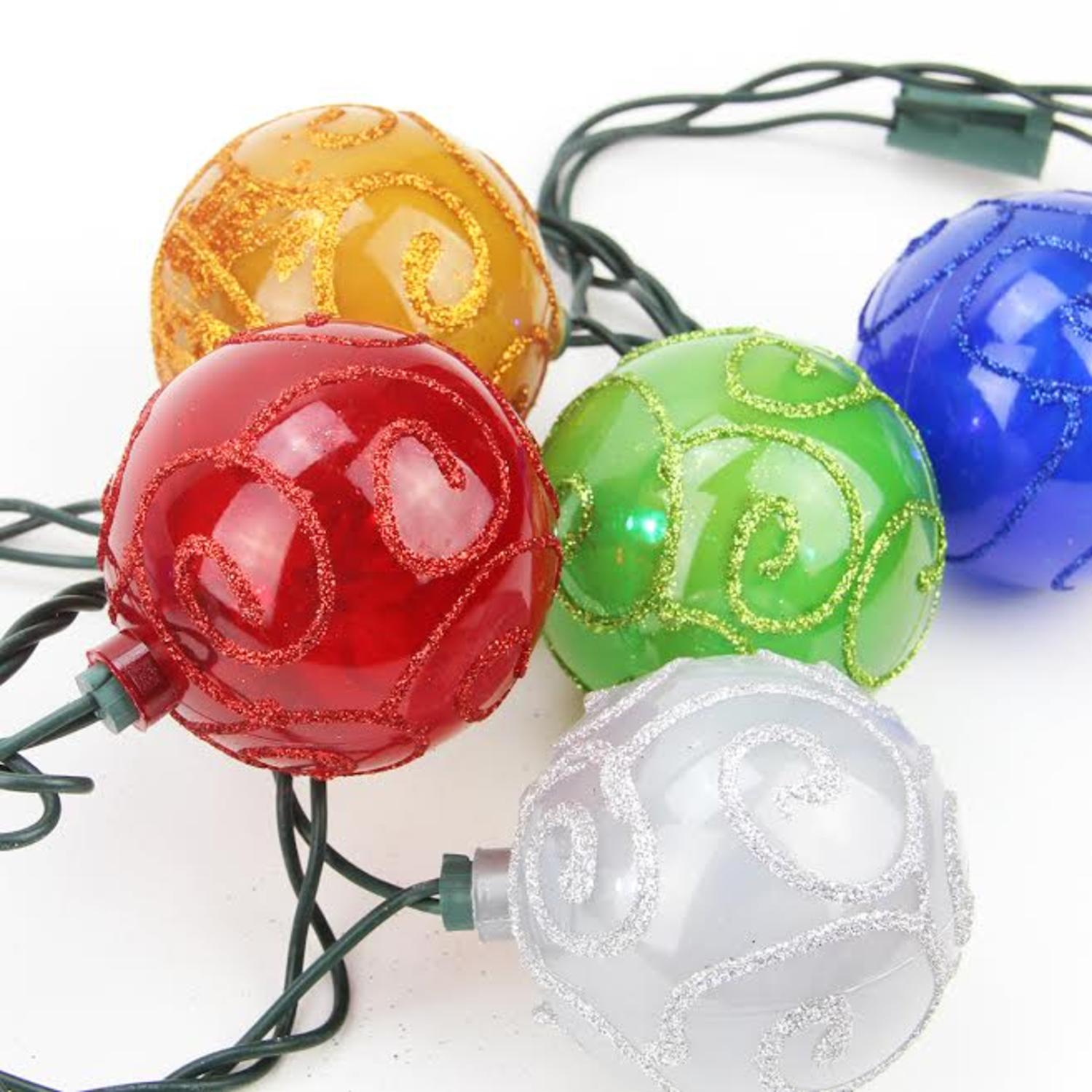 Set of 10 Multi-Color Glitter Swirled Ball Globe Patio Christmas Lights - Green Wire