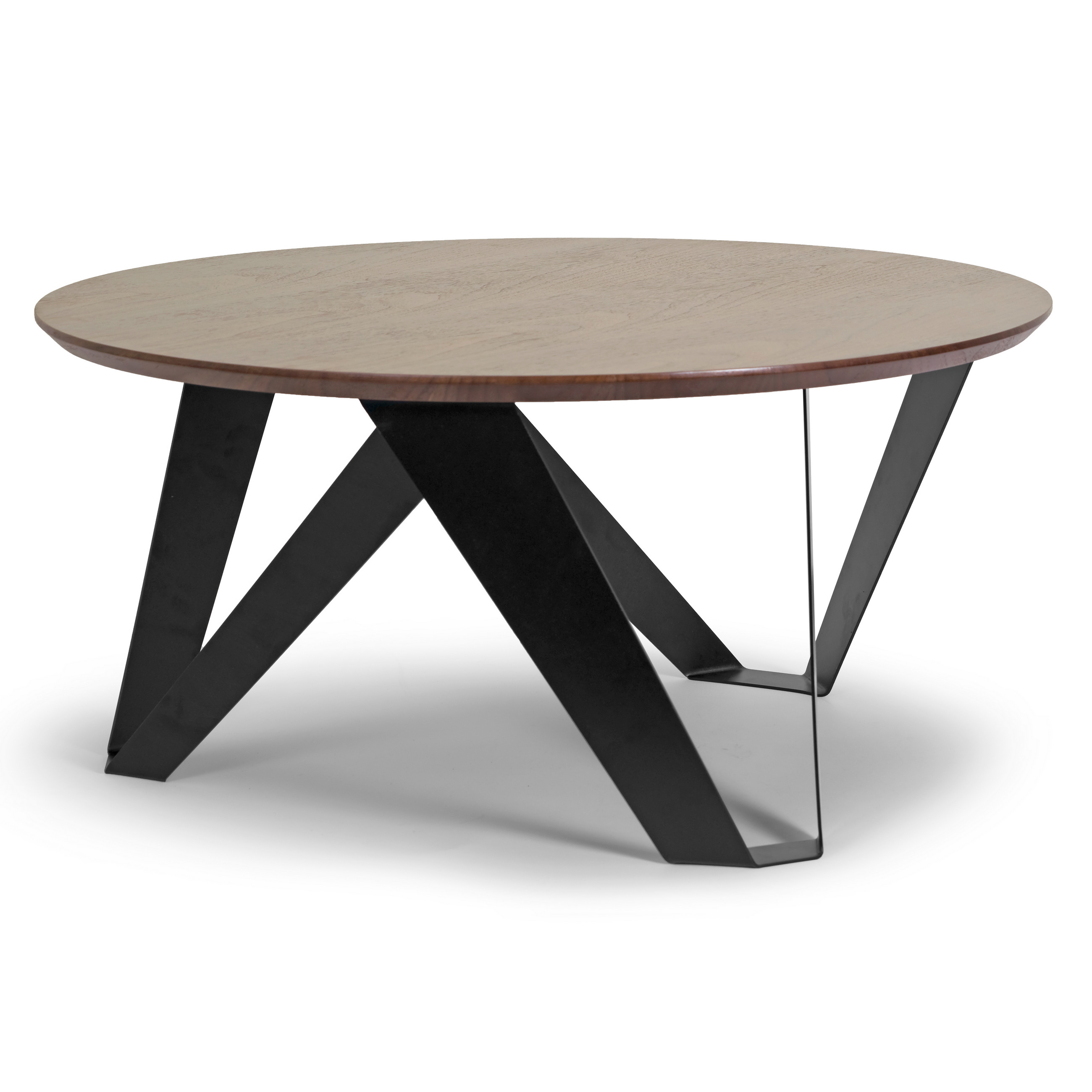 Aimi Walnut Finish Round Modern Coffee Table with Black Metal Legs