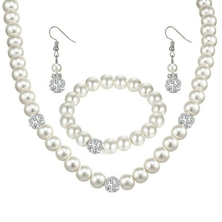 Fashion Personality Pearl Jewelry Set Necklace Earrings Bracelet for Women Wedding (High Fashion Jewelry Set)