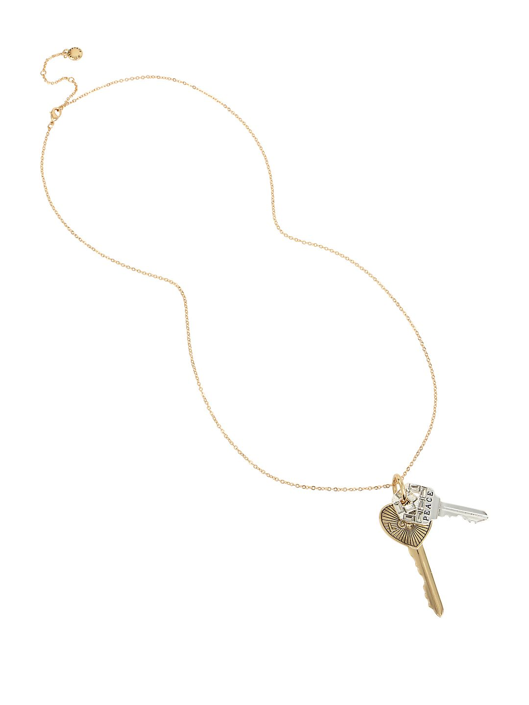 Affirmation Crystal Double Key Pendant Necklace