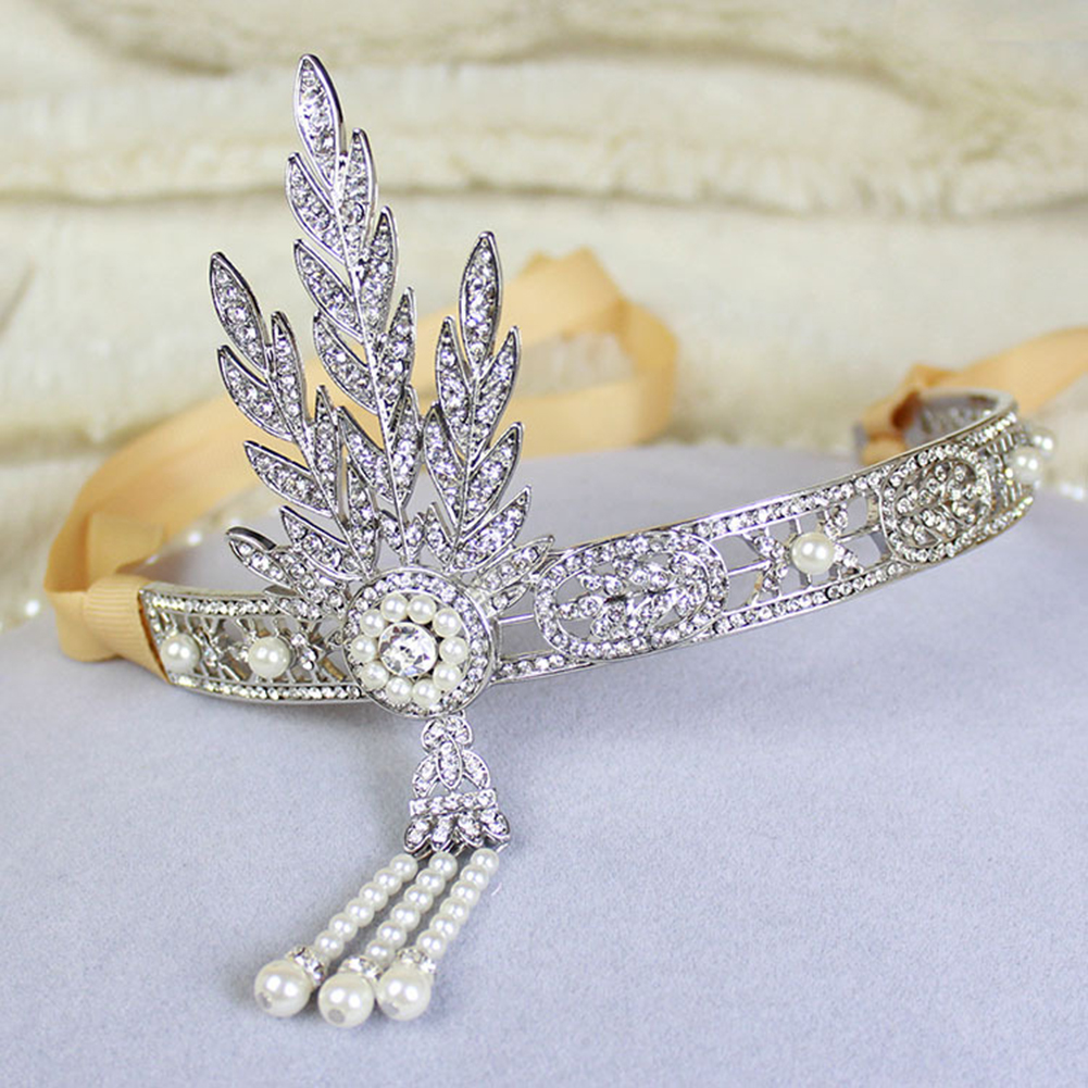Girl12Queen Baroque Wedding Bridal Rhinestone Leaf Dangle Imitation Pearl Crown Headband