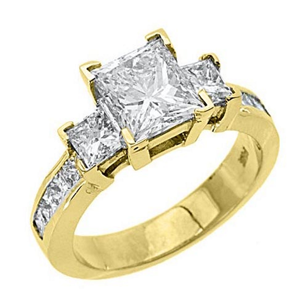 14k Yellow Gold Princess Cut Past Present Future 3 Stone ...