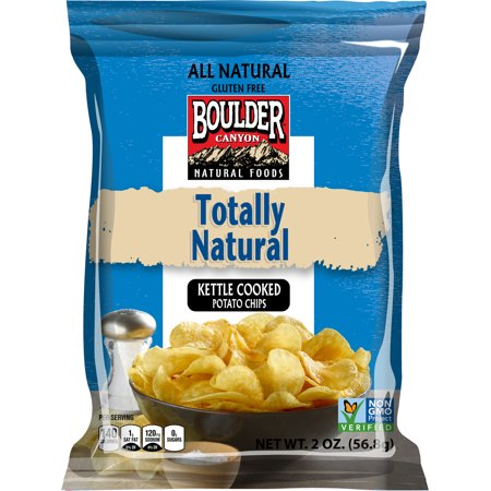Boulder Canyon Totally Natural Kettle Cooked Potato Chips 2oz (PACK OF 8) (No Cook Halloween Snacks)