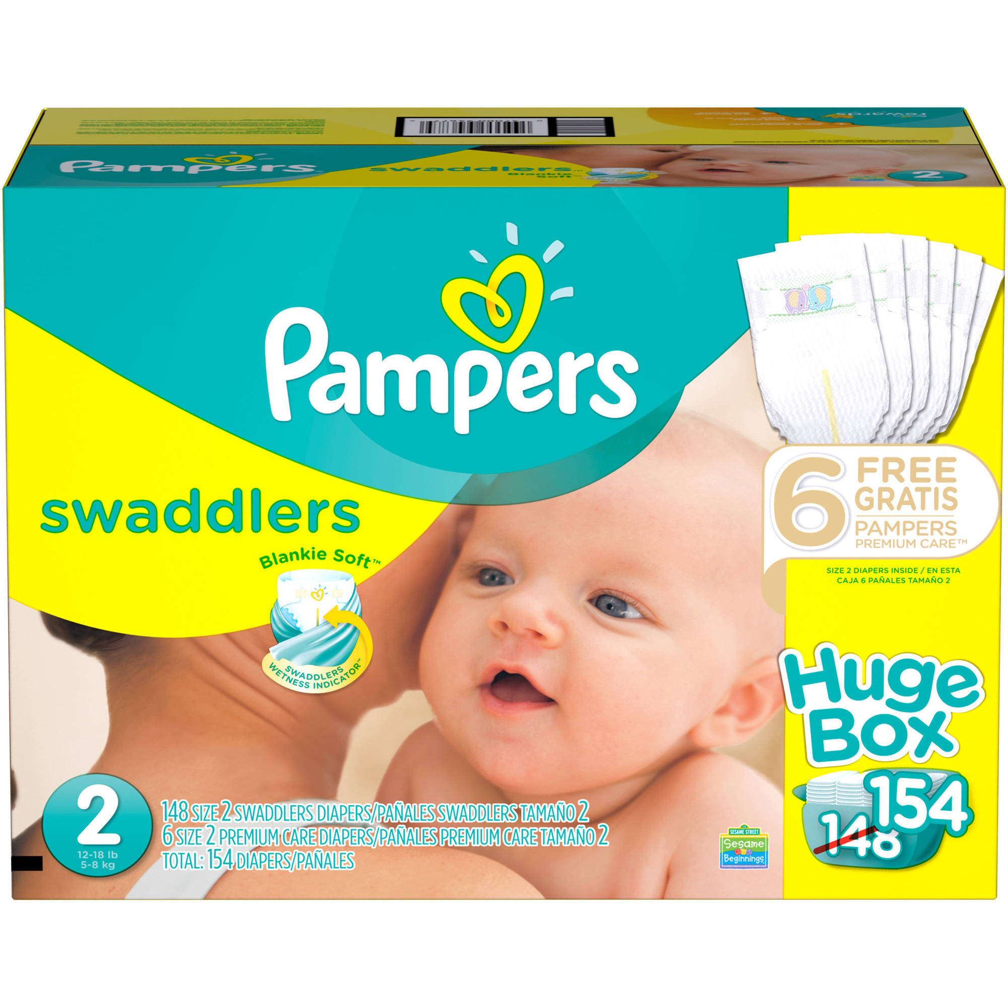 Pampers Swaddlers Diapers, Huge Box, (Choose Your Size)