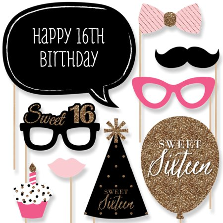 Chic 16th Birthday - Photo Booth Props Kit - 20 Count for $<!---->
