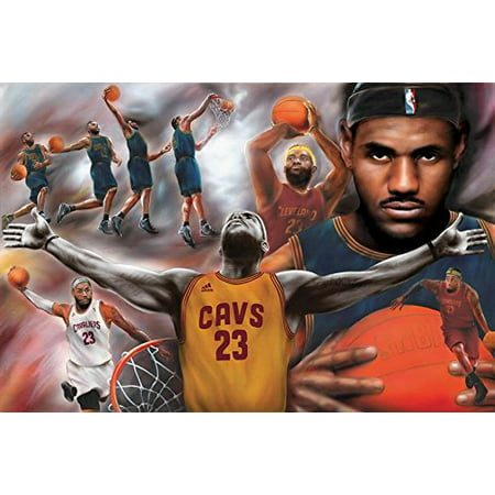 Lebron James - Collage Open Arms 36x24 36x24 Sports Art Print Poster Superstar Legend