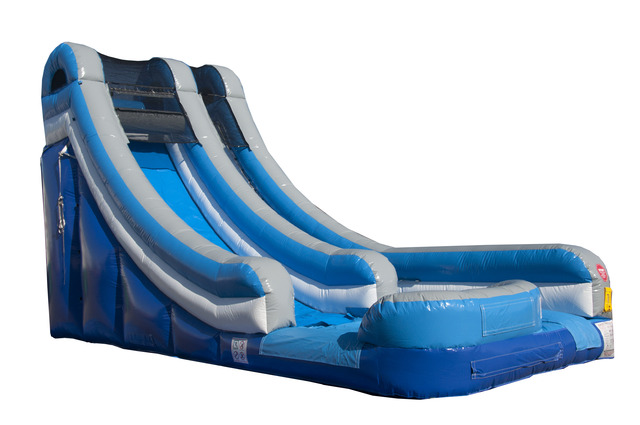 Click here to buy Pogo 18' Blue Commercial Inflatable Waterslide with Blower Kids Bouncy Jumper by Pogo Bounce House.