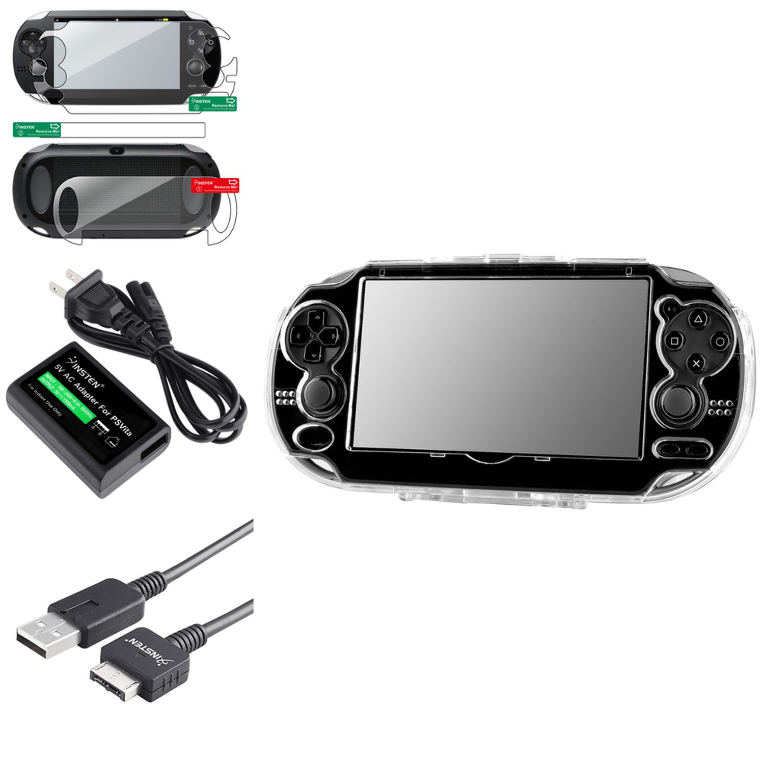 Insten Crystal Hard Case + Full Body Back & Front Protector + USB Cable +Wall Charger For Sony PlayStation Vita (4-in-1 Accessory Bundle)