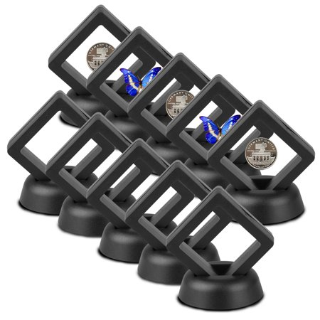 10-Piece Set 3D Floating Display Case Black Diamond Shape Display Stand Holder Suspension Frame for AA Medallion, Challenge Coin, Chip,Jewelry,Pin, 2 x 2 x 0.78 inches