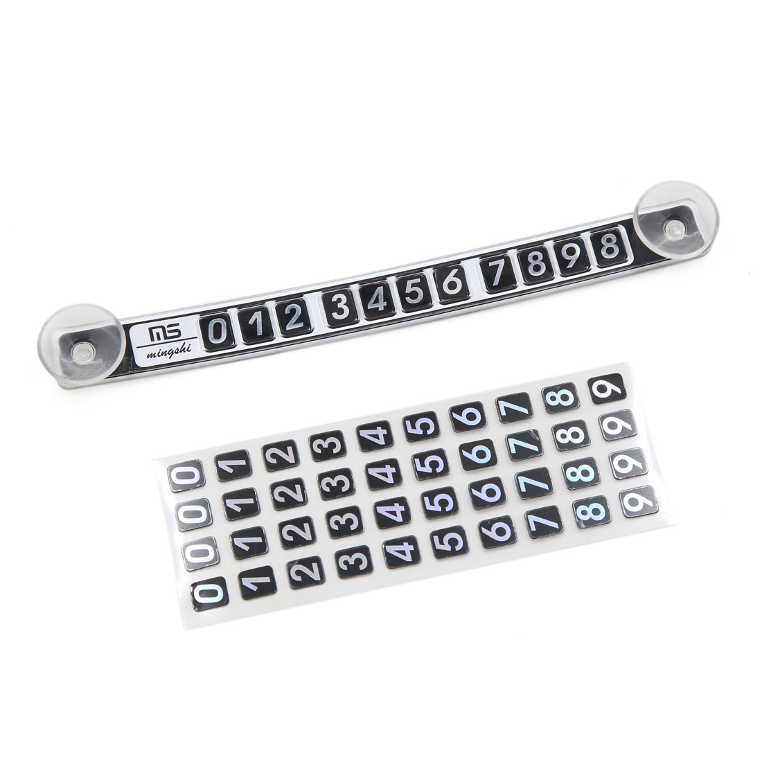 Silver Tone Magnetic Car Temporary Parking Windshield Phone Number Card Plate
