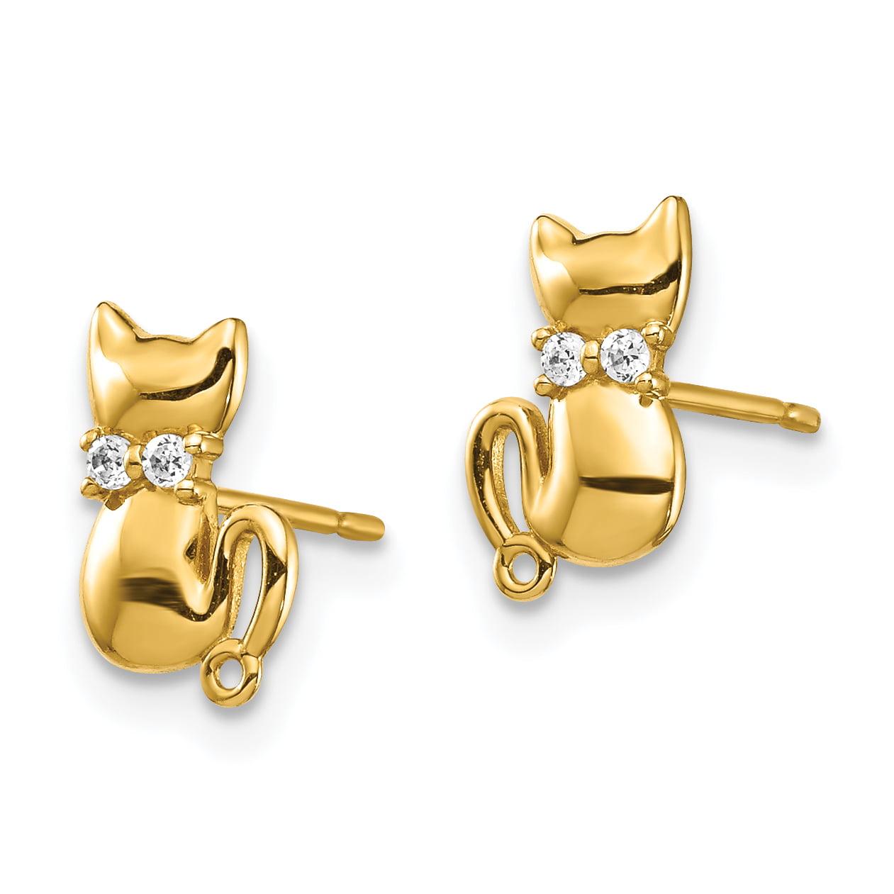 14k Yellow Gold Sitting Cat CZ Bowtie Stud Earrings