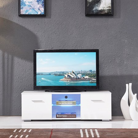 Uenjoy White Tv Entertainment Center Console Furniture High Gloss Stand Unit Cabinet