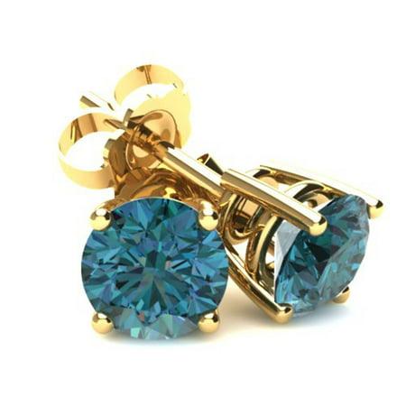 .33Ct Round Brilliant Cut Heat Treated Blue Diamond Stud Earrings In 14K Gold - image 1 de 1