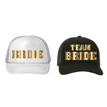 Trucker Hats Team Bride Bachelorette Party Wedding Black White Gold Metalllic - Team Bride
