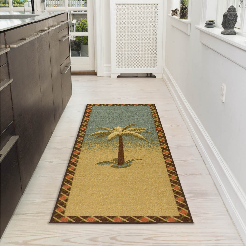 "Ottomanson Sara's Kitchen Tropical Palm Tree Bathroom Mat Non-Slip Runner Rug, Multicolor, 20"" X 59"""
