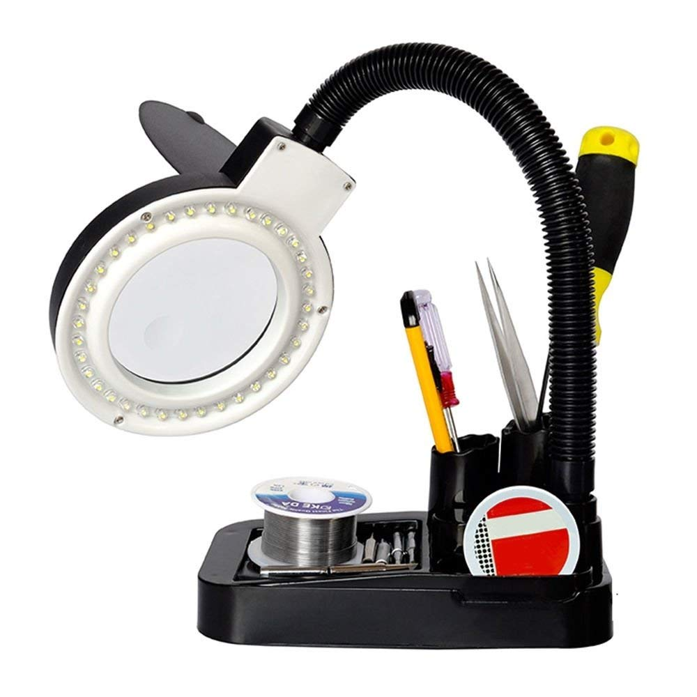 EECOO LED Magnifying Lamp,5 X 10X Magnifier and Desk Lamp - Portable Adjustable Magnifying Glass for Hobby Reading Sewing Crafts Soldering Jewelers