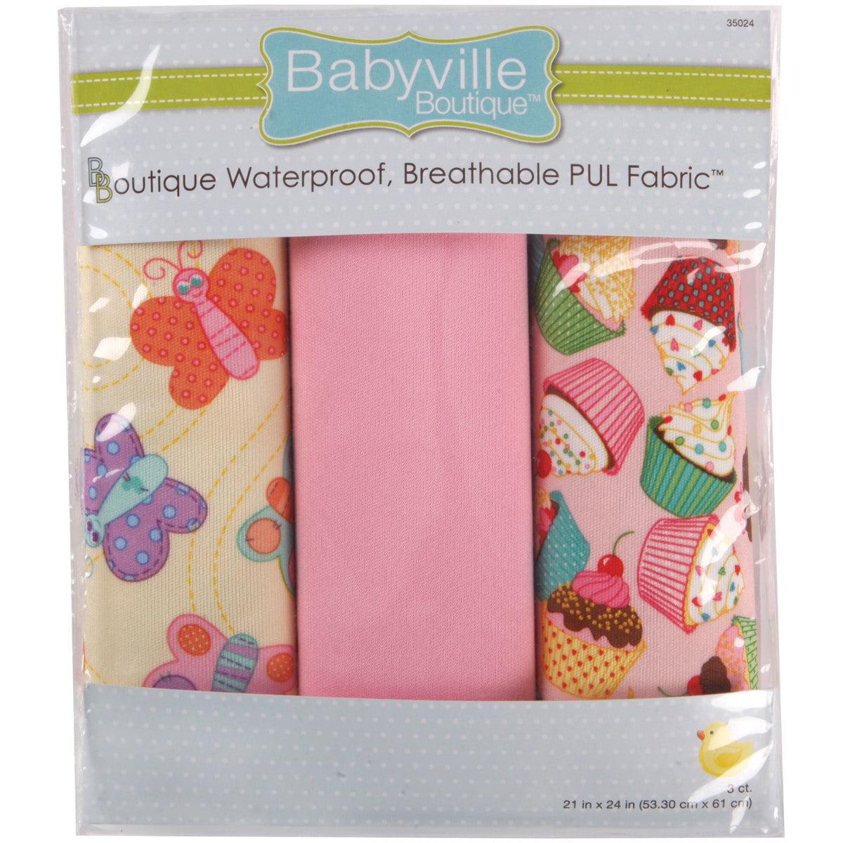 Dritz Babyville PUL Waterproof Diaper Fabric 21 x 24 Cuts 3//Pkg-Black Chevron /& Pink Floral