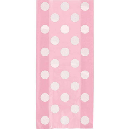 Light Pink Polka Dots Cellophane Bags, 20-Count