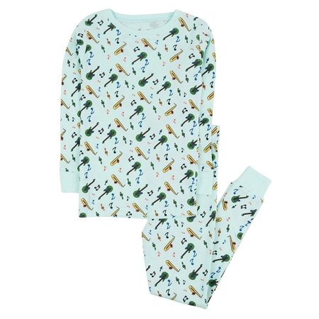 Leveret Kids Pajamas Instruments Overall Print Boys & Girls 2 Piece pjs Set 100% Cotton Size 2 Toddler