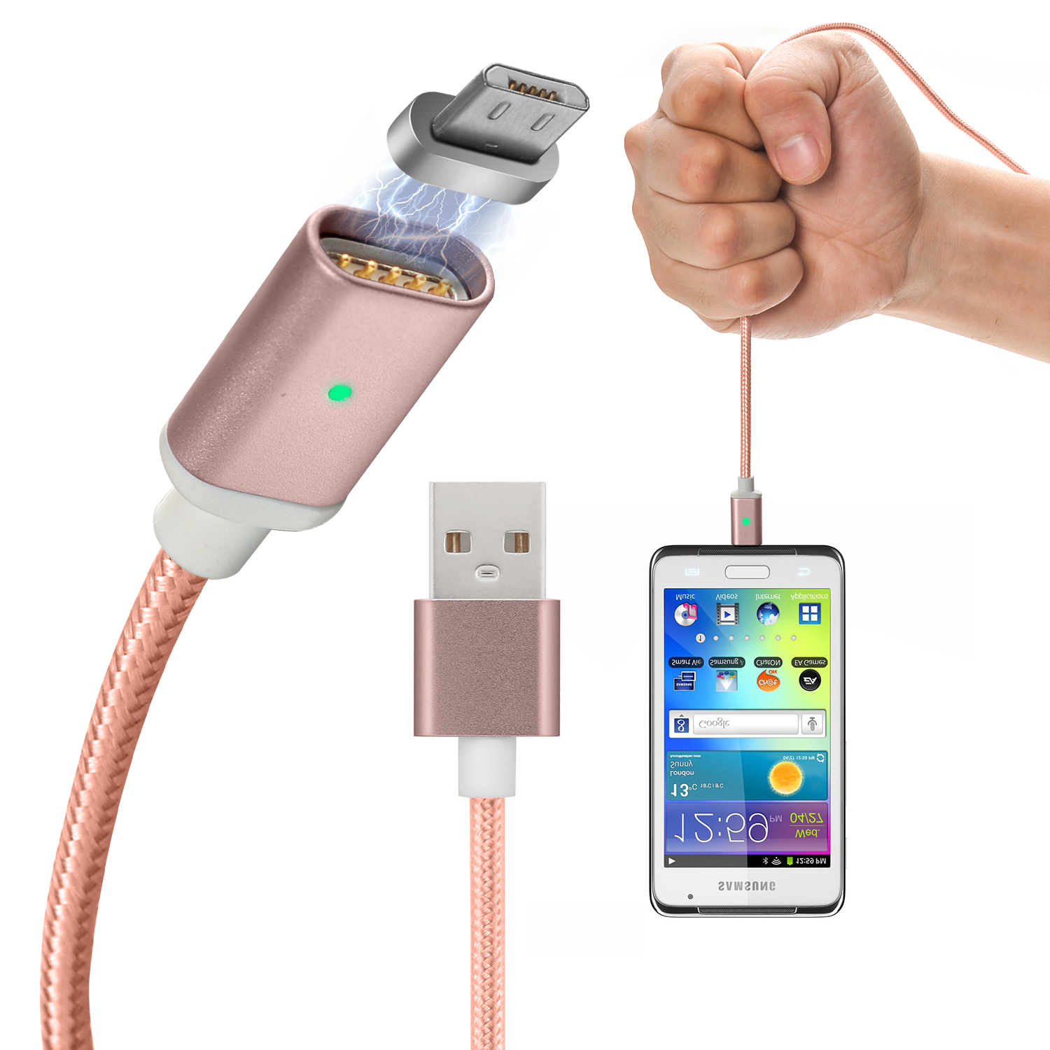 AGPtek 2.4A Magnetic Micro USB Charging Cable Fast Charger Adapter for Android Samsung LG HTC HUAWEI