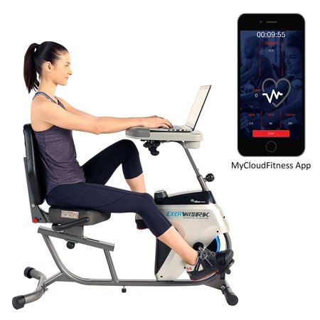 EXERPEUTIC 2500 ExerWork Bluetooth Smart Cloud Fitness Adjustable Desk Recumbent Bike with Free APP ()