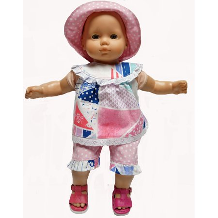3 Piece Pretty Print Doll Clothes For Baby and 18 Inch Girl