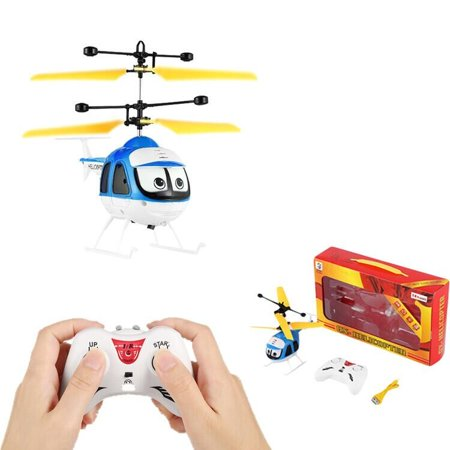 Mini RC Helicopter Induction Flying Toys Cartoon Remote Control Drone Aircraft Cool Plane Toys Floating Toys Good Gift for Kids,Blue