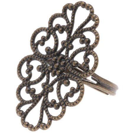 Antiqued Brass Oval Filigree 31.5 x 20mm Adjustable Ring (1) ()